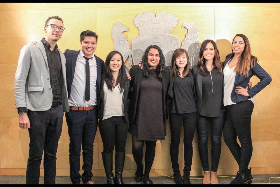 Kwantlen Polytechnic University business administration students (from left) Joseph Watson-MacKay, Sal Marino, Willine Kwee, Puneet Thiara, Ada Tsang, Ashley Leitao and Jasleen Chahal are using the business component of their practicum to help fellow students in Africa have enough light to study.