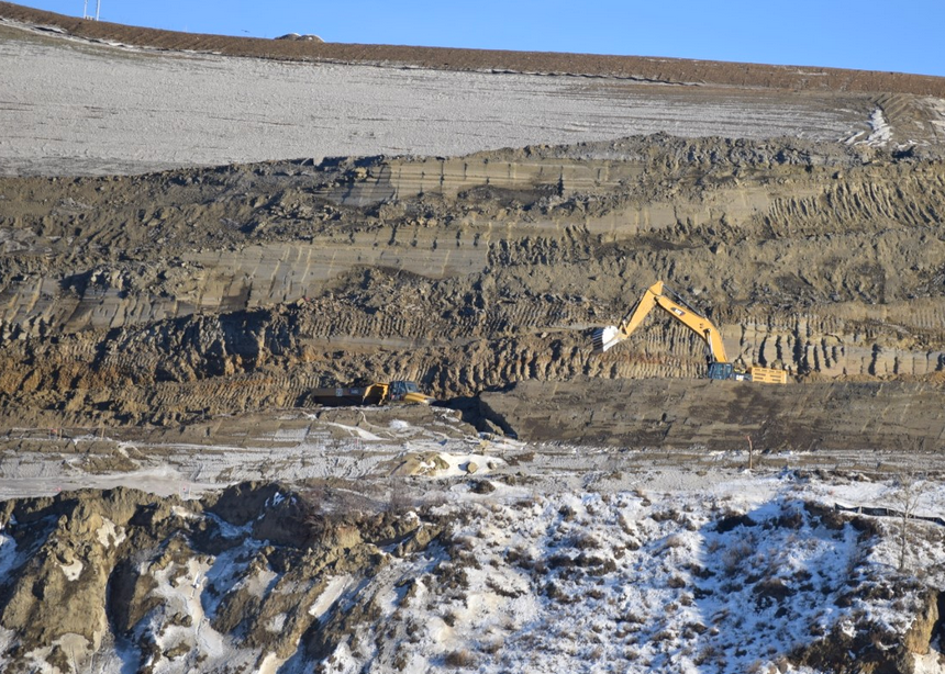 Site C construction work on the north bank of the Peace River earlier this month. BC Hydro is set to begin clearing work for the dam's reservoir in a wetland area this winter, a move regional district officials say should be delayed.