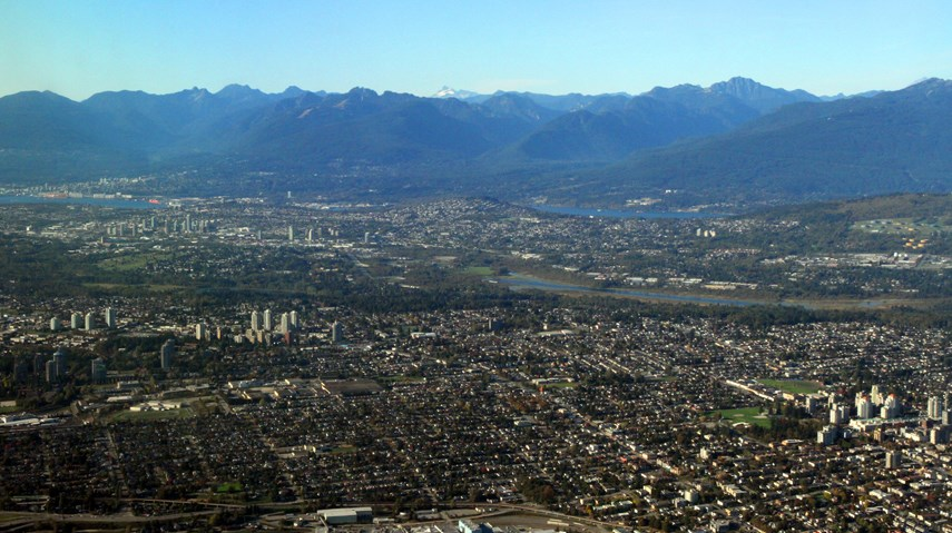 Greater Vancouver aerial shot city mountains