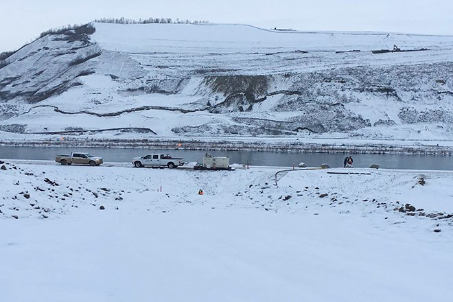 A BC Hydro-supplied photo of a tension crack along a Site C haul road.