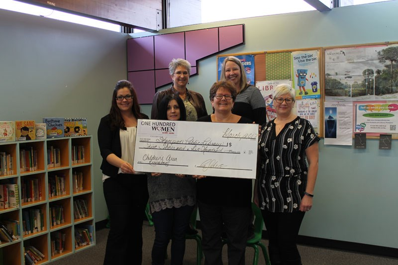 100 women who car thompson library donation march 2017