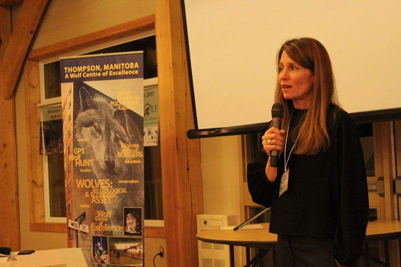 Author Erin McCloskey addressed the attendees of the second Wolf and Carnivore Conference at Riverlodge Place on Oct. 18.