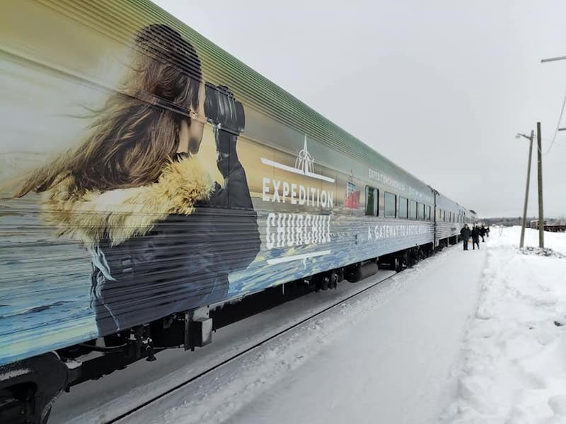 A snapshot of the Expedition Churchill train car as it pulled into Thompson station on Dec. 3.