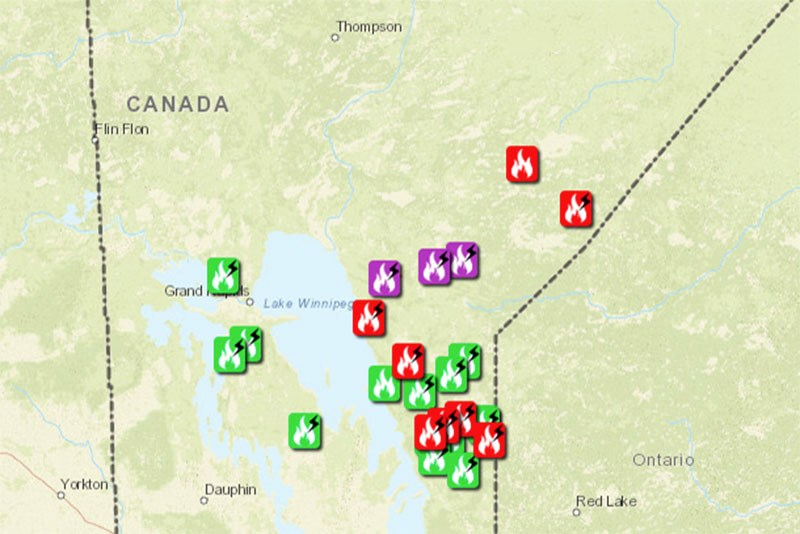 Five forest fires were burning in Manitoba's northeast region as of July 4, two of which were classi