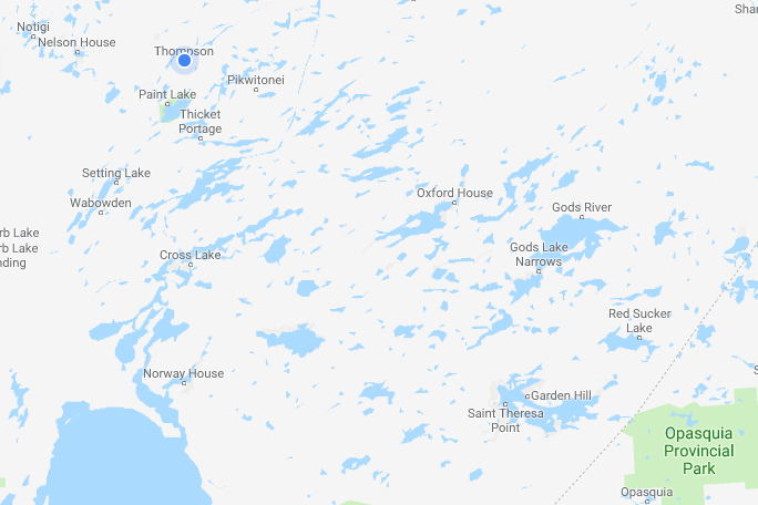 The Island Lake region, in the bottom right corner, includes four fly-in First Nations with an estim