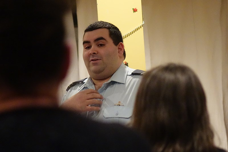737 Squadron Royal Canadian Air Cadets commanding officer Capt. Dan Colosie tells members of 100 Wom