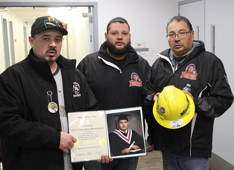 The family of Todd Maytwayashing at the Thompson court office Feb. 12, where Keeyask contractor Forb