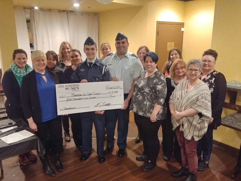 The Thompson chapter of 100 Women Who Care presented a cheque for $5,900 to the Thompson Air Cadets