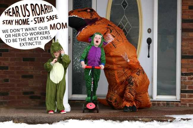Virden's Dr. Jennifer Hammell, dressed up with her two young children, participating in The Front Step Project.
