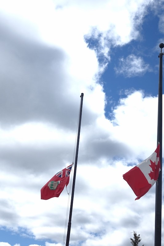 Flags at Thompson City Hall were lowered to half-mast May 30 in honour of 215 Indigenous children wh