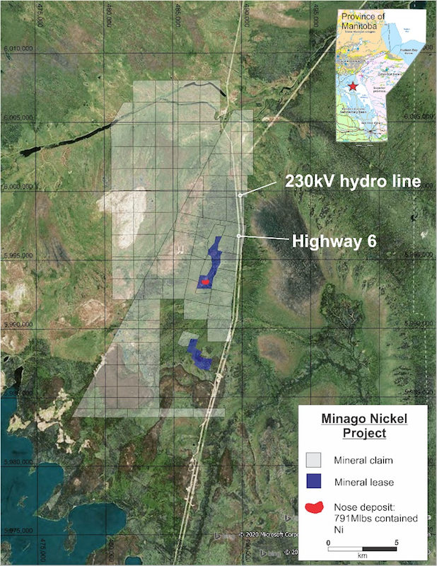 A map showing the location of the Minago nickel project, which was acquired by Silver Elephant Minin