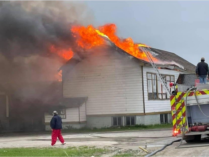 A suspicious fire damaged a building in Cross Lake June 3.