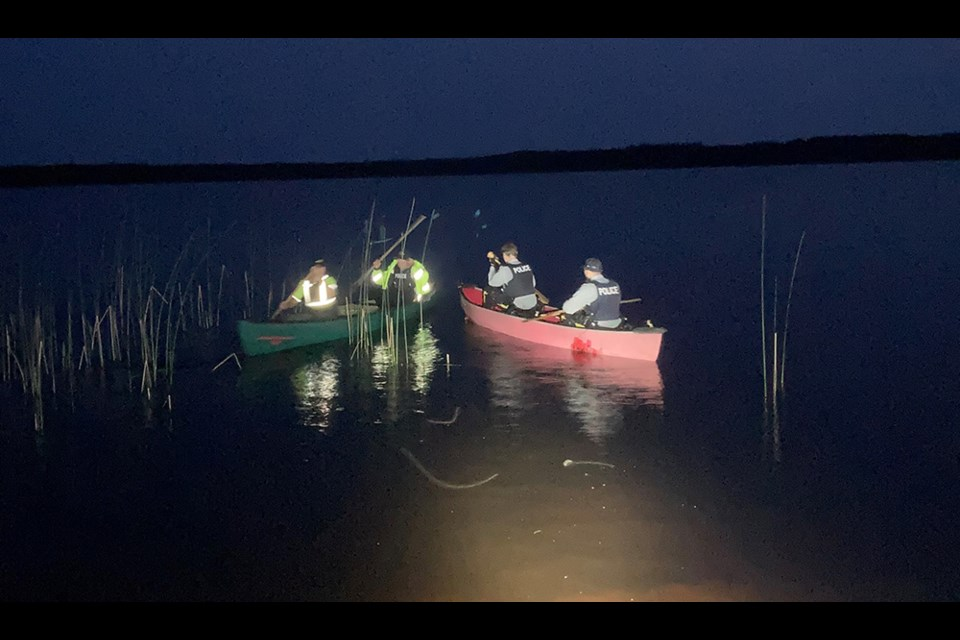 Bushwhacking and canoeing were required to rescue two stranded boaters at an unnamed lake about 50 kilometres south fo Thompson July 10.