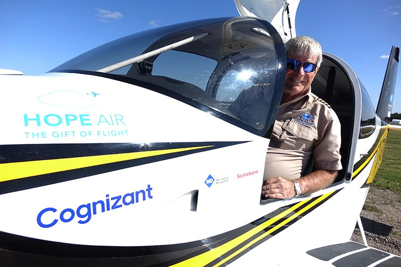 Give Hope Wings expedition chief pilot Dave McElroy shortly after landing at Thompson Airport Aug. 2