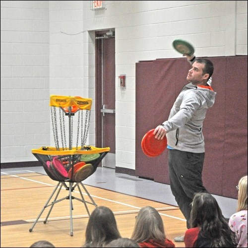 Rob McLeod was at Bready Elementary School throughout the day Thursday teaching students all the various ways to use a Frisbee. It was a way to not only teach students the sport, but also the messages of acceptance, kindness, determination and unplugging.  Photos by John Cairns