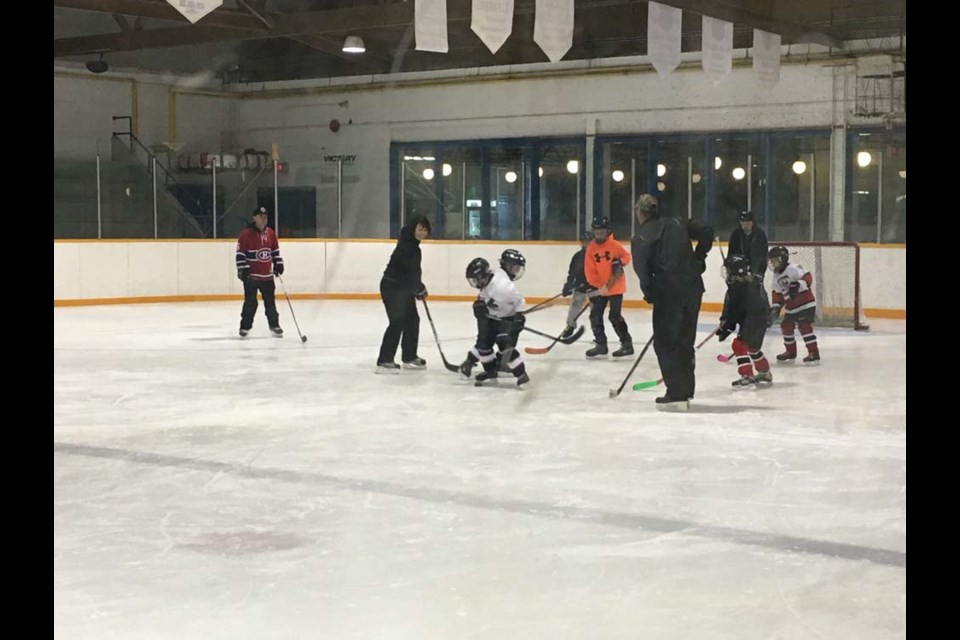 At the Canora Novice Red wind-up on March 9, from left, Greg Smith (coach), Nicole Korpusik (coach), Colton Bletsky and Cale Smith were trying to score on the parents Jaxson Lindgren and Hayden Strelioff, and older siblings Dwayne Wolkowski, Cayden Kelly, Kevin Strelioff and Natalia Kelly.