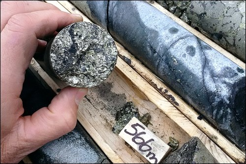 A high-grade drill core from the Talbot deposit.