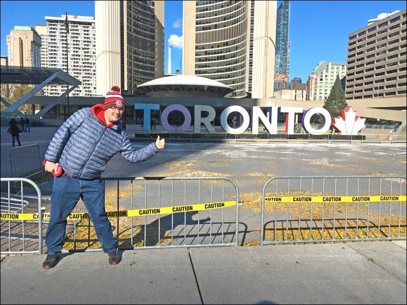 Like any tourist, Lucas made sure to visit the Toronto sign located in Nathan Phillips Square.