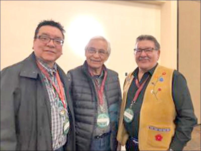 Poundmaker council man Milton Tootoosis, elder Austin Tootoosis, Métis elder Norman Fleury.