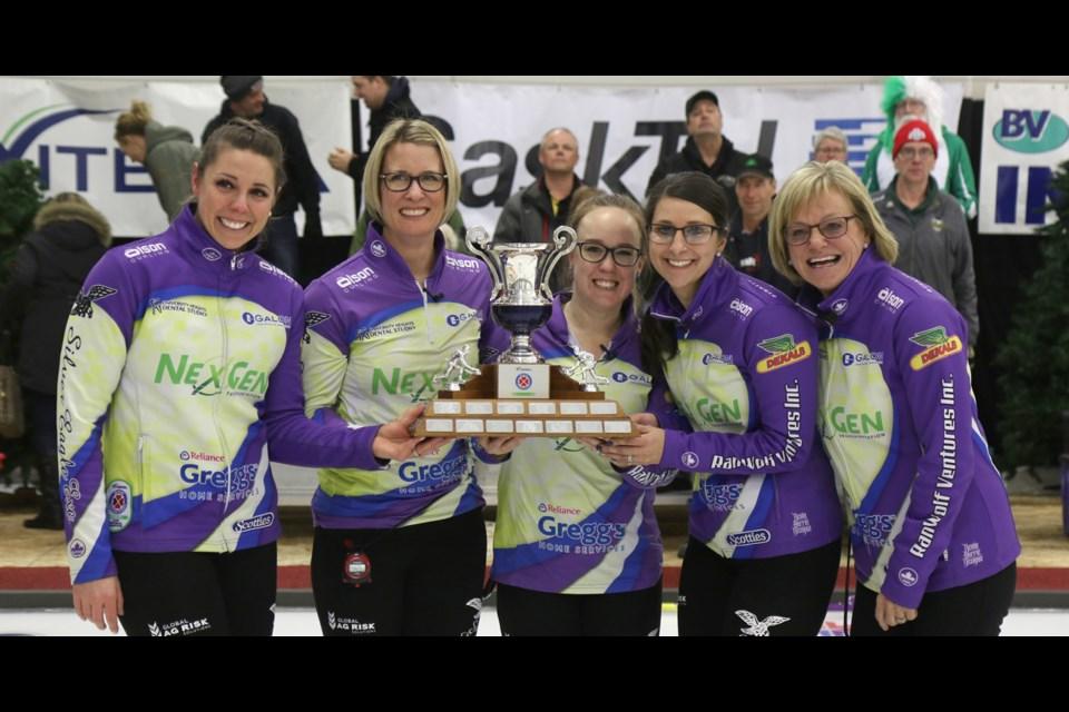 Team Silvernagle won the 2019 Viterra Scotties Women's Provincials Winners. From left are skip Robyn Silvernagle, third Stefanie Lawton, second Jessie Hunkin, lead Kara Thevenot and coach Lesley McEwan. Photo by Devan C. Tasa