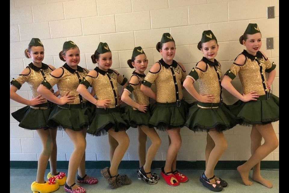 Dancers who performed a tap performance, from left, were; Emerson Strykowski, Paje Reynolds, Jenna Anaka, Maggie Bartel, Saphira Anaka, Alexis Firman and Addison Danielson.