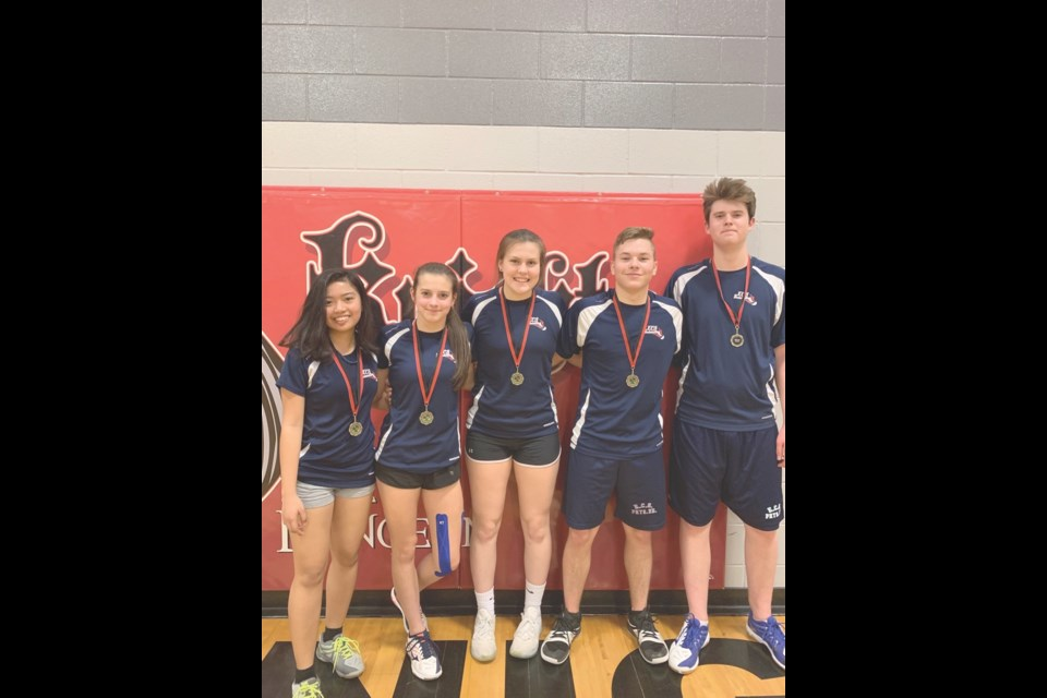 From left, Aizee Palad, Trinity Rooks, Taylor Haux, Jonah Bachorcik and Jordan Gillingham were among the medal winners at a badminton tournament in Oxbow. Photo submitted