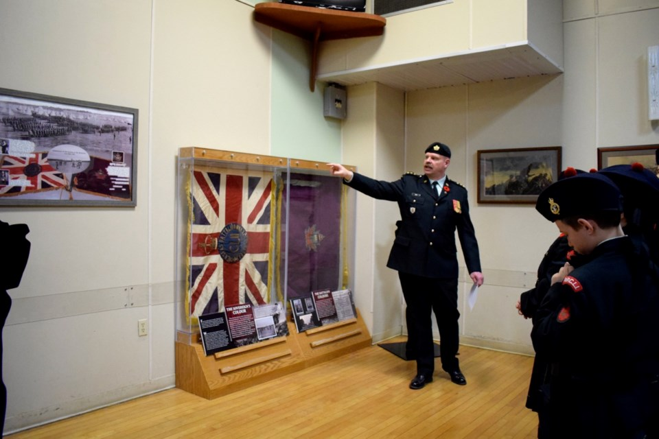 Dedication of the 152nd Battalion colours at the Estevan Legion Hall by Captain Craig Bird.