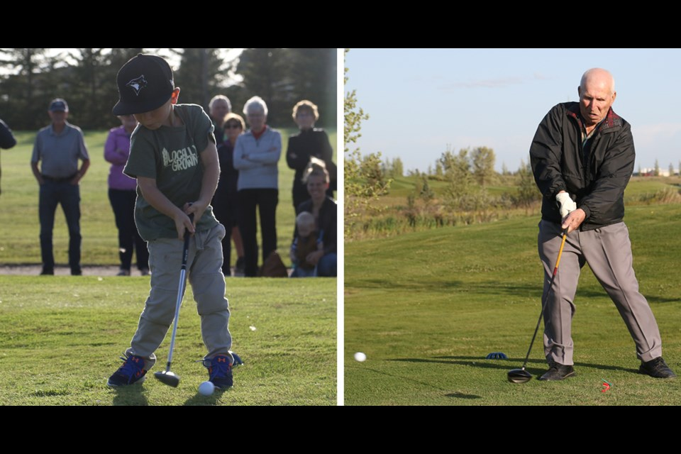 To celebrate their 75th anniversary on Aug. 28, the Humboldt Gold Club had one of their youngest members, Jack Unrau and one of their oldest, Mike Sowtis, do a ceremonial tee off. Photo by Devan C. Tasa