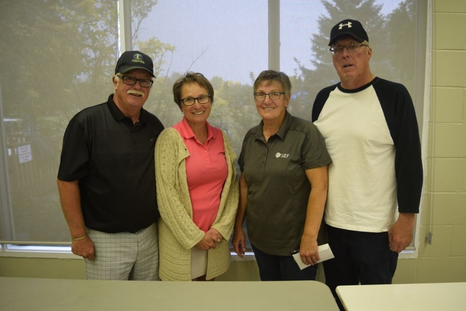 At the Canora Golf and Country Club Senior Mixed Tournament on September 5 the winners in the mixed category, from left, were: Kevin and Barb Coleridge of Good Spirit Acres (championship flight), Gail and Ivan Peterson of Sturgis (first flight)