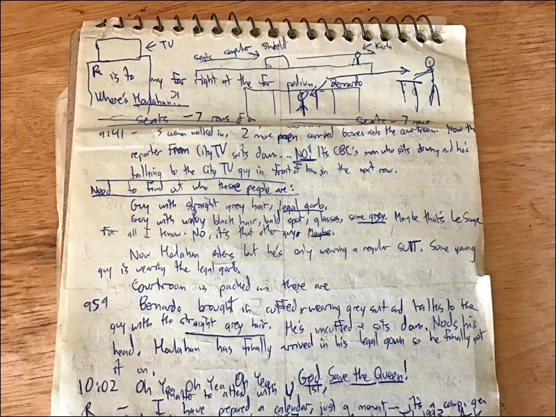 A page of my notes from the trial. Photo by John Cairns