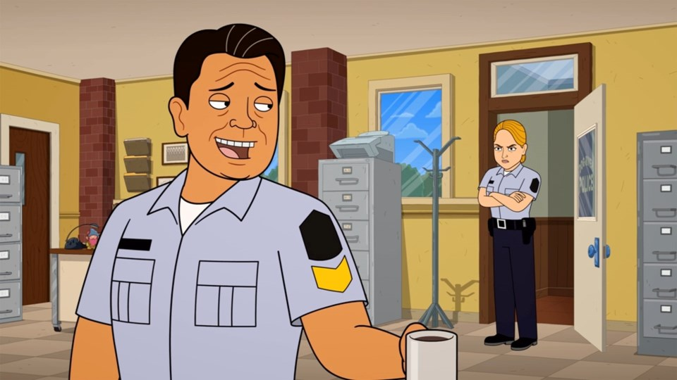 Sgt. Davis Quinton & Officer Karen Pelly Animated. Corner Gas Animated/CTV Comedy Channel.