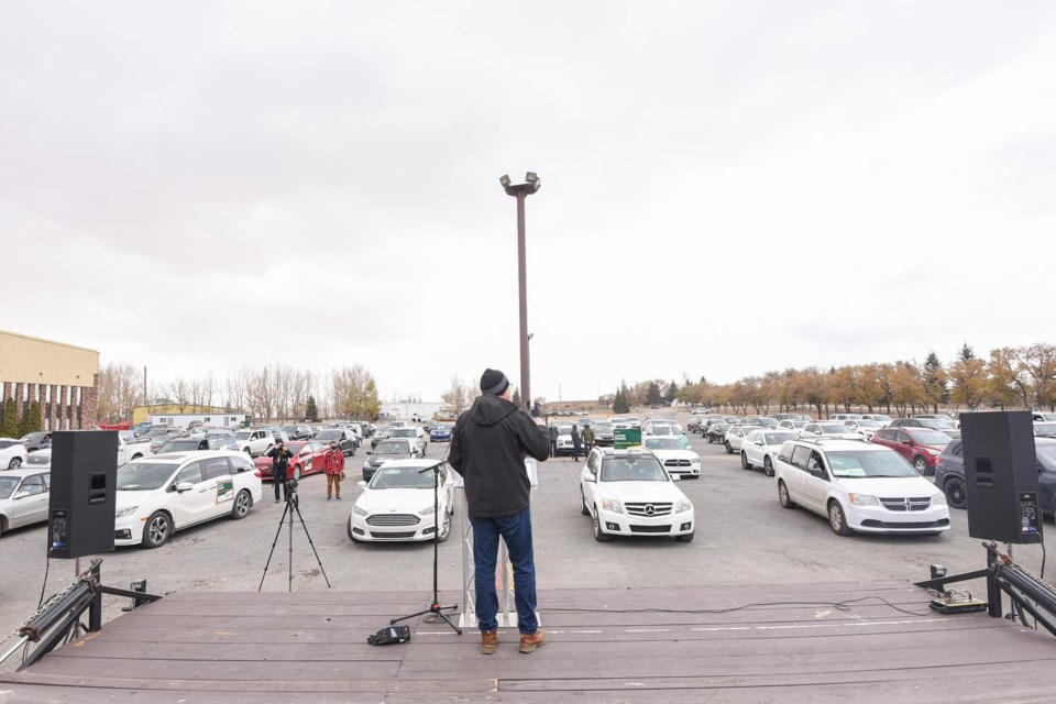 he Saskatchewan Party held its first drive-in rally on Oct. 22. Photo courtesy Scott Moe Facebook Page