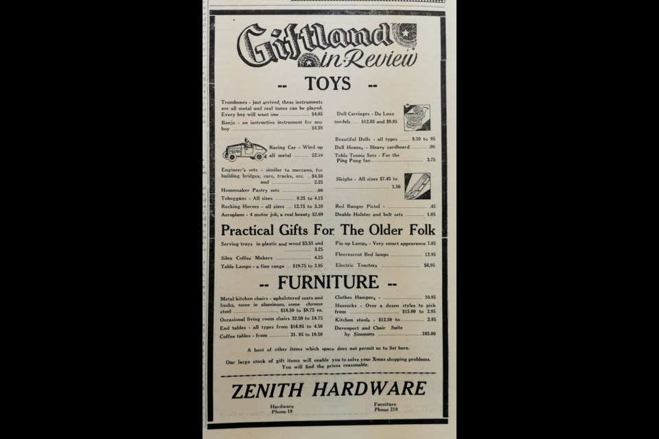 HARDWARE STORE: A Zenith Hardware advertisement offers a glimpse of what may have interested buyers in search of the perfect Christmas gift in 1946.