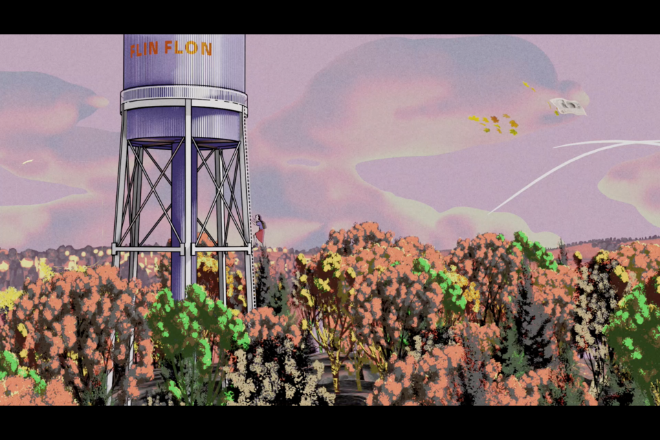"""This still from the music video for Bluebloods' """"Postcard from a Quarantined Miner in Flin Flon"""" shows Flin Flon's notable blue water tower, complete with a climber going up to the top. The song and video, set in Flin Flon, tells a story inspired by civil unrest, far-away love and illness. - IMAGE COURTESY BLUEBLOODS"""