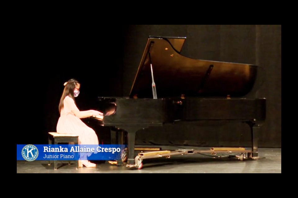 Among the performers at this year's Kiwanis Music Festival was Rianka Allaine Crespo on junior piano. Photo from the Dekker Centre livestream