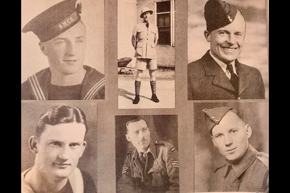 The Stearn Brothers - WWII - Ernest - RCN, Walter - Army, James - RCAF,  Arthur D.- RCNVR, William H, - RCAF, John (Jack) - Army.