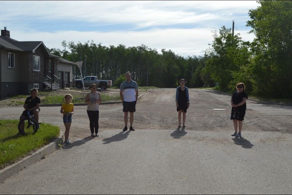 Walking to school together during the Preeceville School walk-and-roll to school day held in Preeceville on June 2 from, left, were: Connor Burym, Shae Burym, Dallas Kardynal, Ally Rock and Laura Sliva.