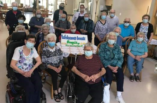 Parkview residents were ecstatic to welcome back guests in a more normal fashion after having their second rounds of shots and more restrictions were lifted. Photo submitted