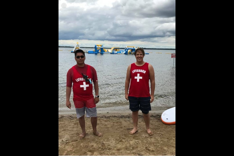 On location at Madge Lake in Duck Mountain Provincial Park, Site Manager Nick and Site Supervisor James, along with their team, are officially open and ready to welcome guests to try out the water play course.