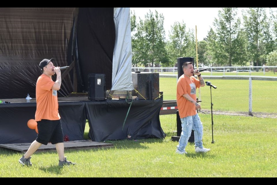 Originally from the Key First Nation, Saskatoon-based rap duo, Brown Can Shine, shared a number of original songs at the Kamsack Sports Grounds.