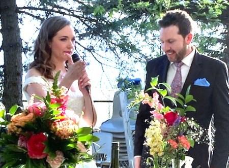 Greg and Kelly Woloshyn on their special backyard wedding day.