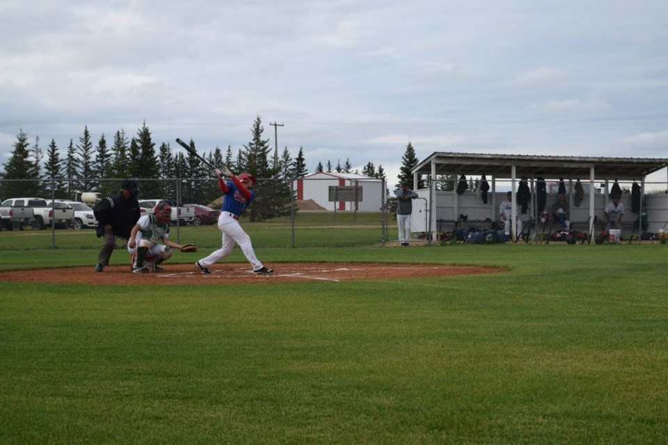 Kody Rock scored the first run of the game for the Canora Supers in a 7 to 1 win over the visiting Langenburg Legends on July 5, sliding in just ahead of the catcher's tag, with umpire Vern Schick in position to make the call. Rock pitched a complete game and socked a pair of home runs later in the contest.