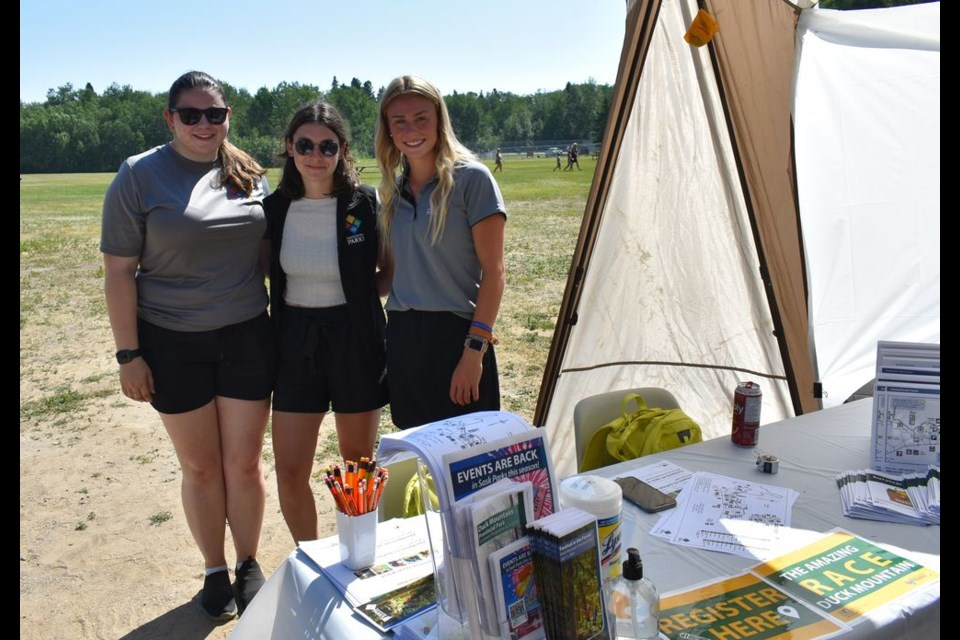 Race Organizers Sask Parks staff greeted visitors and registered participants for The Amazing Race in the morning hours of the Festival in the Forest at Duck Mountain Provincial Park.