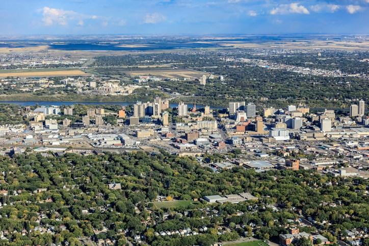 downtown saskatoon aerial getty