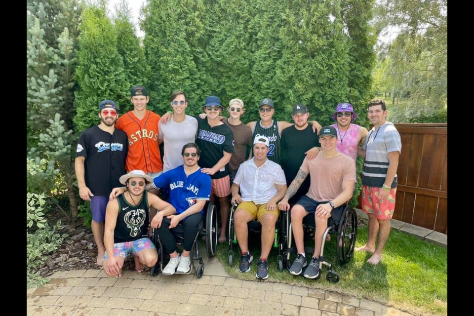 A photo of the 13 Humboldt Broncos bus crash survivors together for the first time since the tragedy has gone viral in recent days. Facebook photo