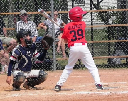 Kellen Headrick of the U13 Cardinals was at bat during the team's warm-up tournament held in Unity July 16 weekend as they prepared for provincials. Photo by Sherri Solomko