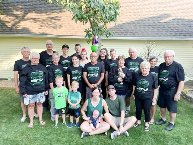 Kevin Toombs and his family gather for a group photo during a get-together July 24 in Estevan. Photo submitted
