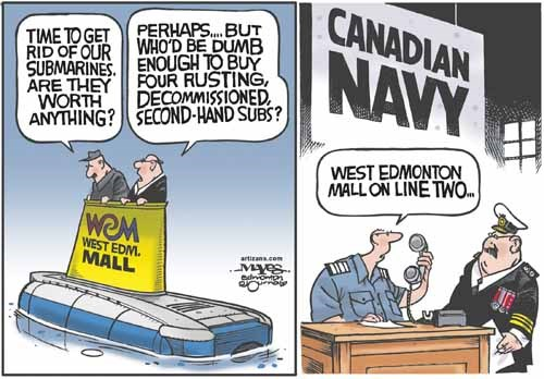 West Edmonton Mall sells decommissioned subs to Canadian Navy.