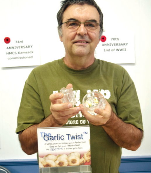 """Kevin Straub of Kamsack sold the """"Garlic Twist"""" a device used to process garlic."""