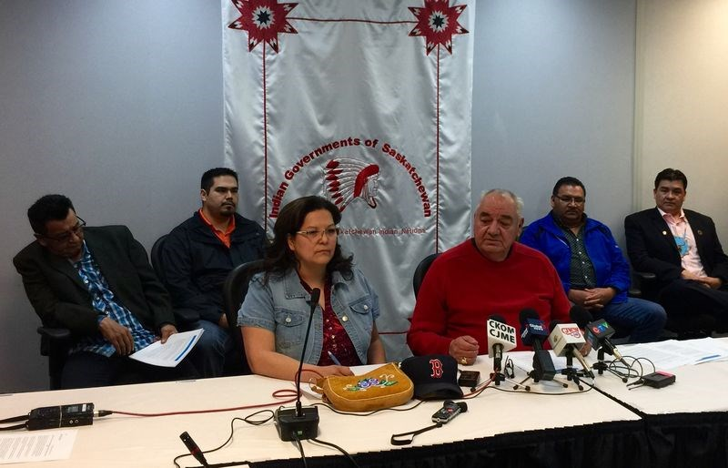 Kimberly Jonathan, an FSIN vice-chief and Ted Quewezance of Keeseekoose First Nation, an FSIN Senator, spoke to various media in Saskatoon on March 14. --Photo courtesy of FSIN Communications